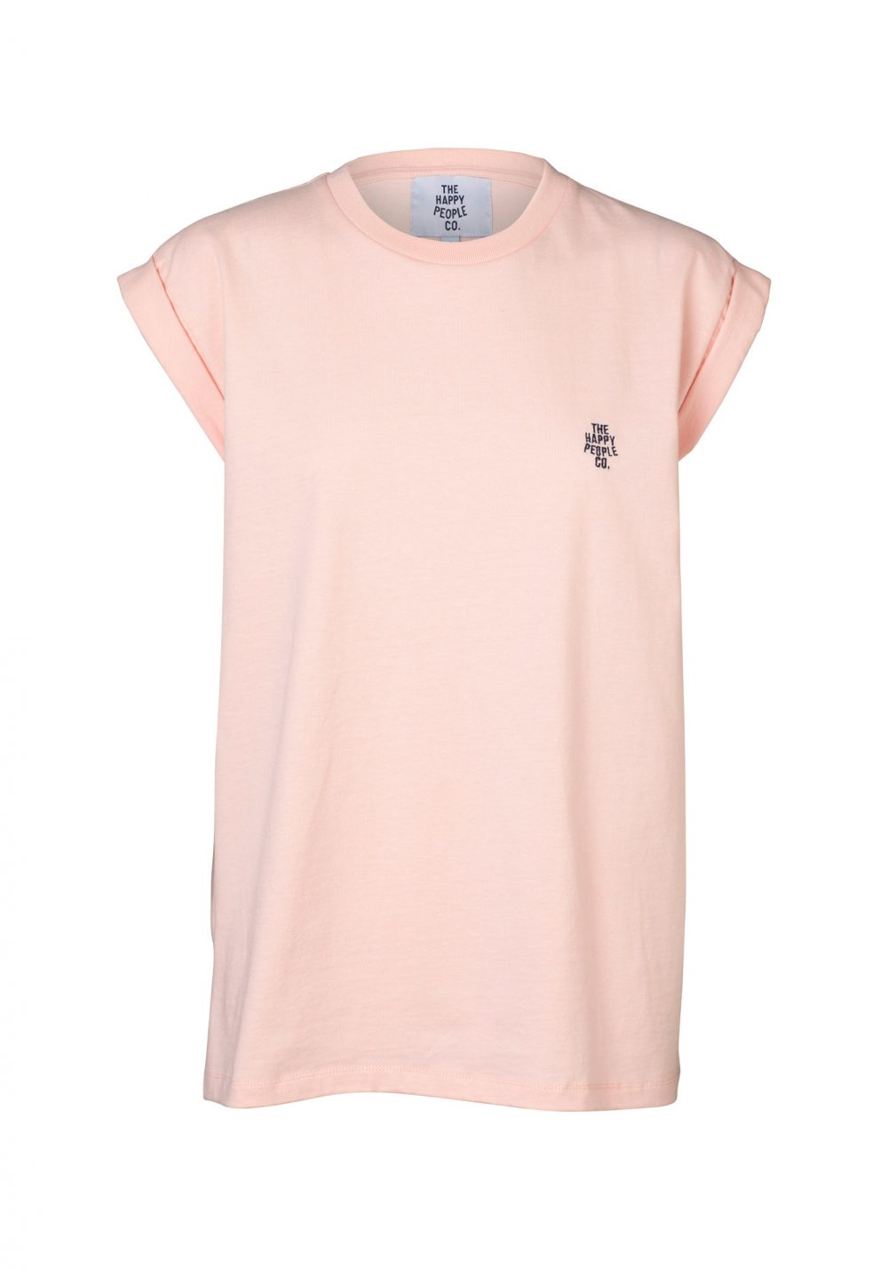 Happy Roll Sleeve Tee Pink