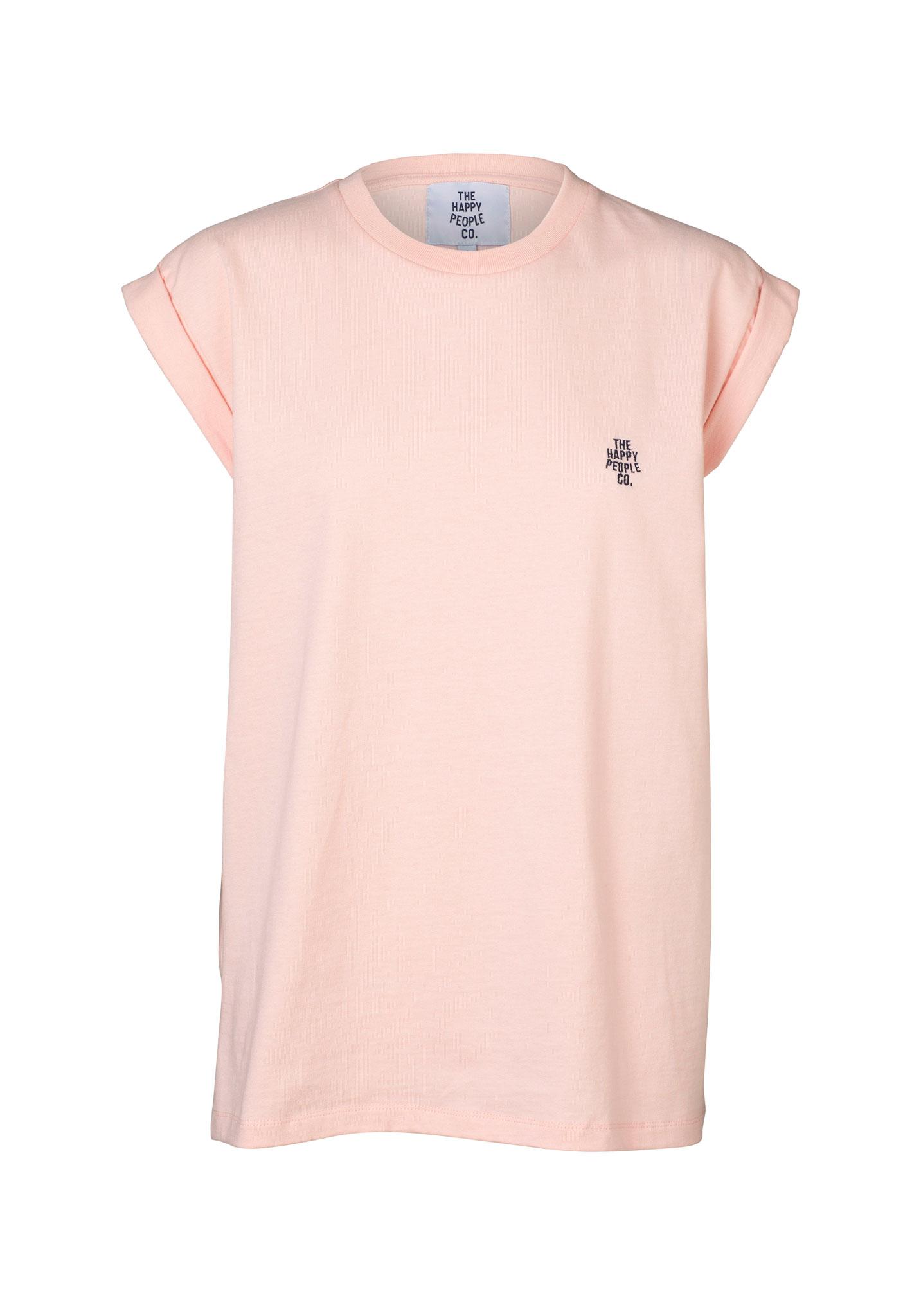 Happy Roll Sleeve Tee Pink