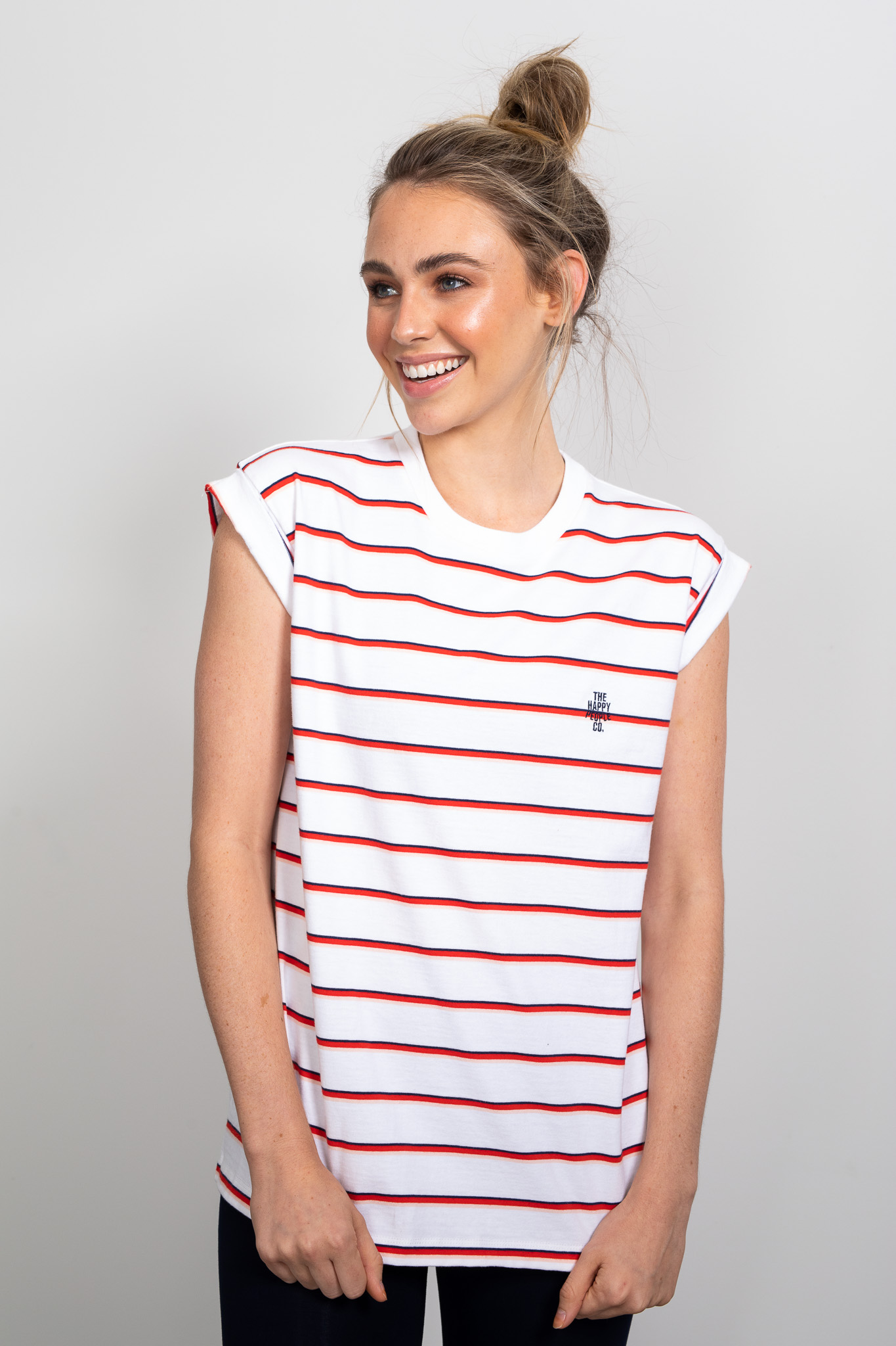 Happy Roll Sleeve Tee Stripe