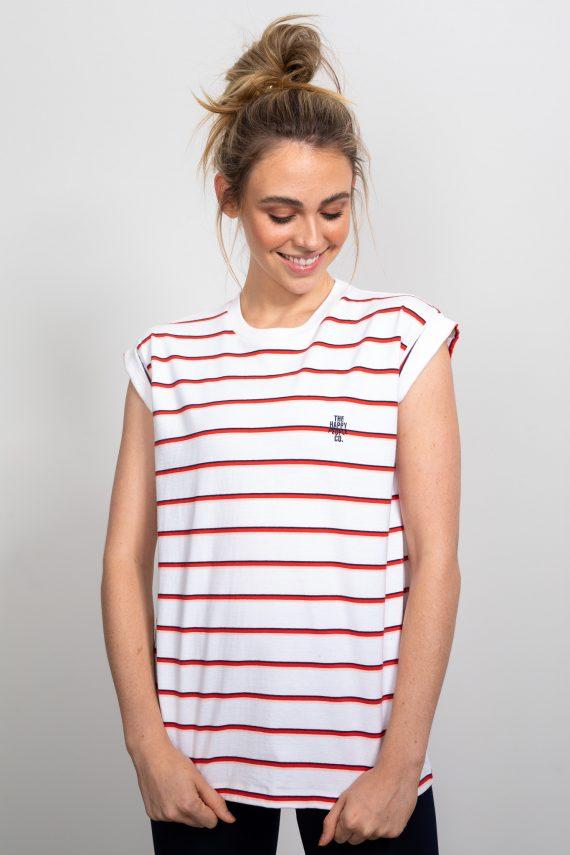 Happy Roll Sleeve Tee Stripe